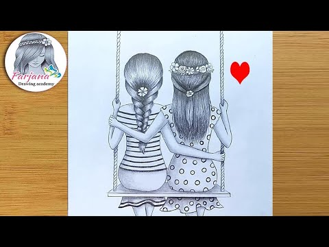 How To Draw Best Friends Sitting Together On A Swing Pencil Sketch Tutorial Youtube