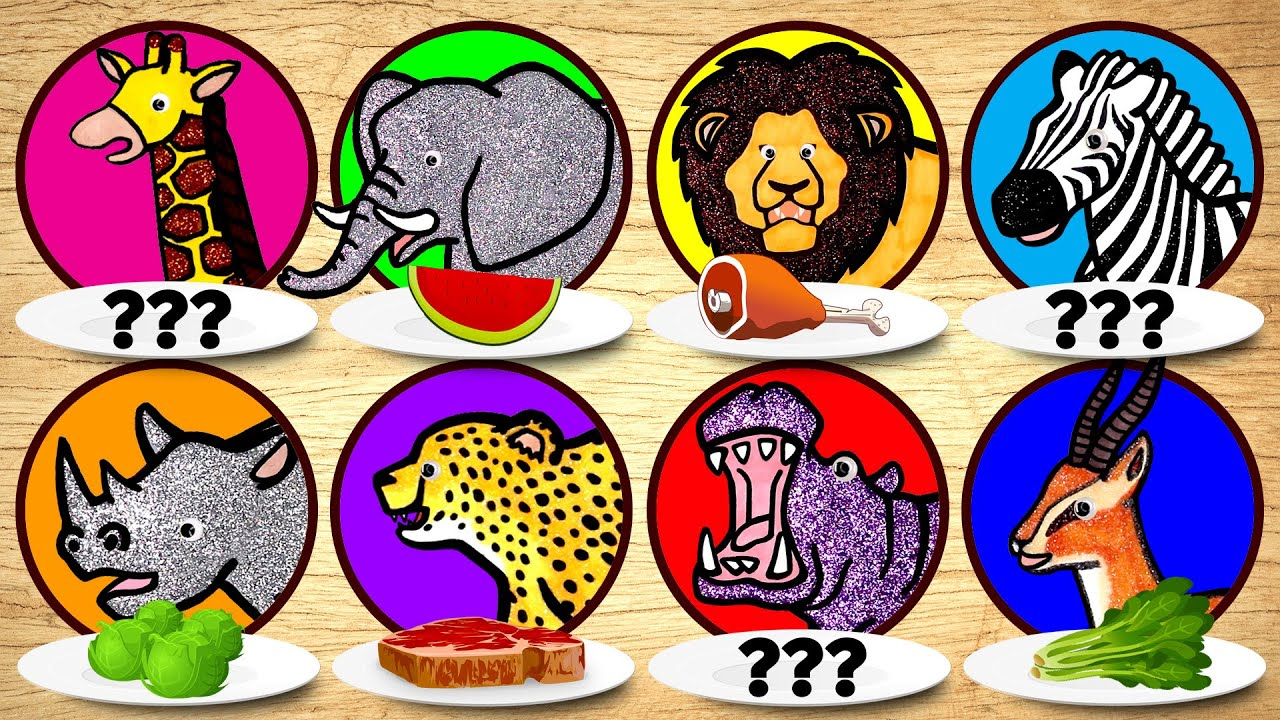 Zoo Wild Animals for Kids, Learn Animals Eat Food | Carnivore Herbivore Puzzle for Children Learning