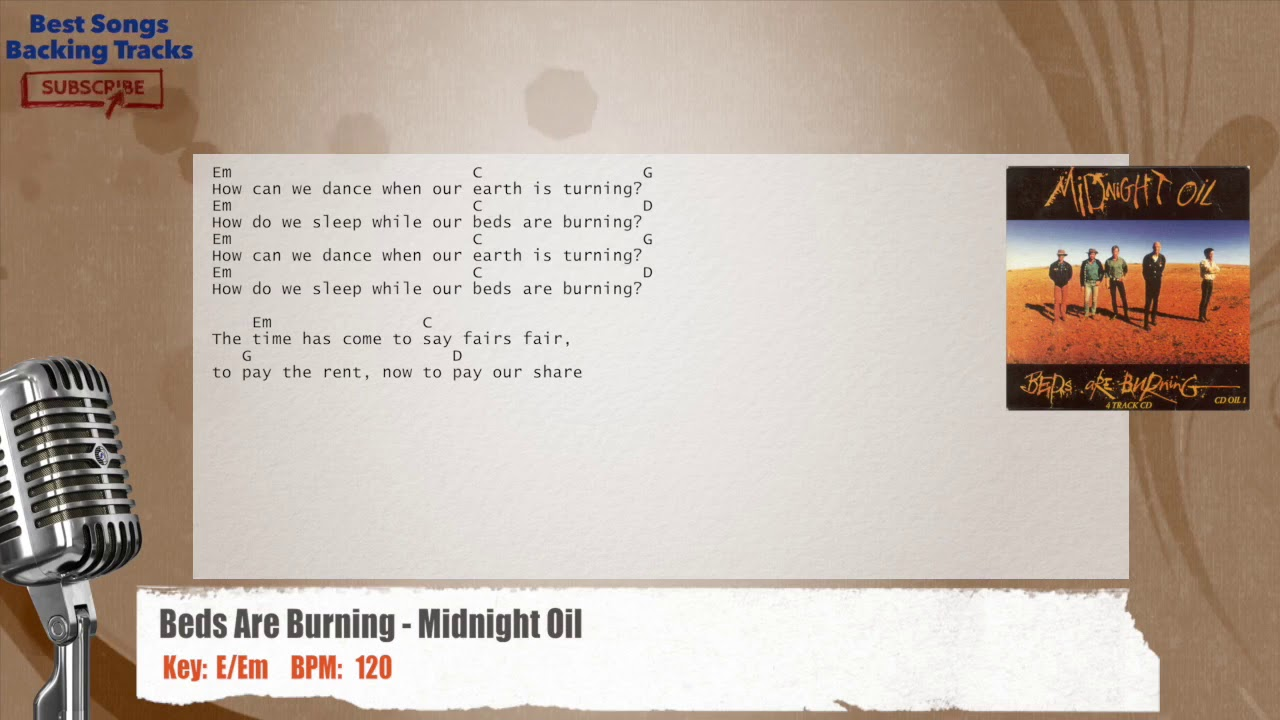 beds are burning - midnight oil vocal backing track with chords