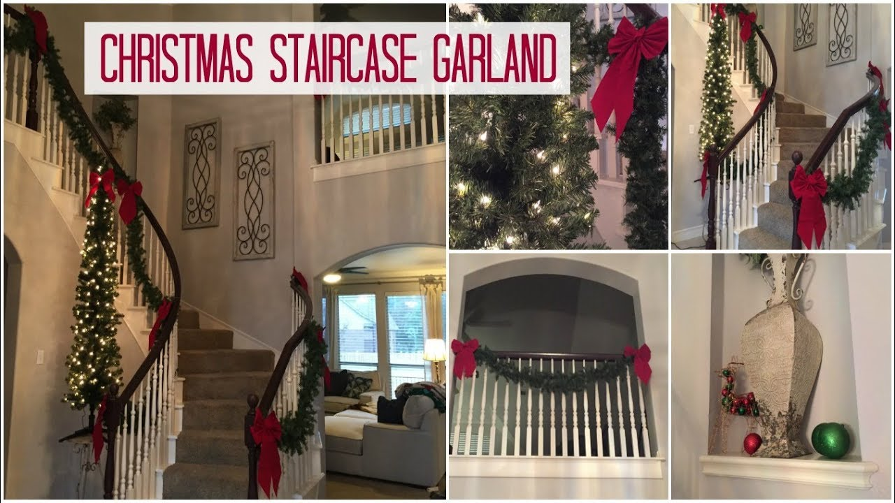 My Christmas Staircase Garland Set Up Using Walmart Decor