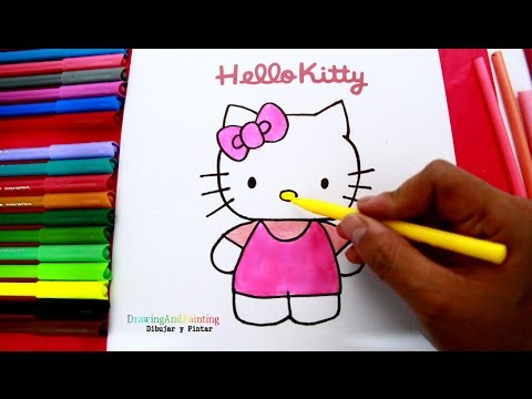 How to draw and paint Hello Kitty | Como dibujar y pintar a Hello Kitty