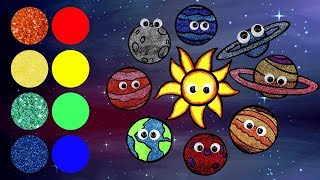Glitter Planets and Solar System Drawing   How to Draw Solar System with Colored Glitter
