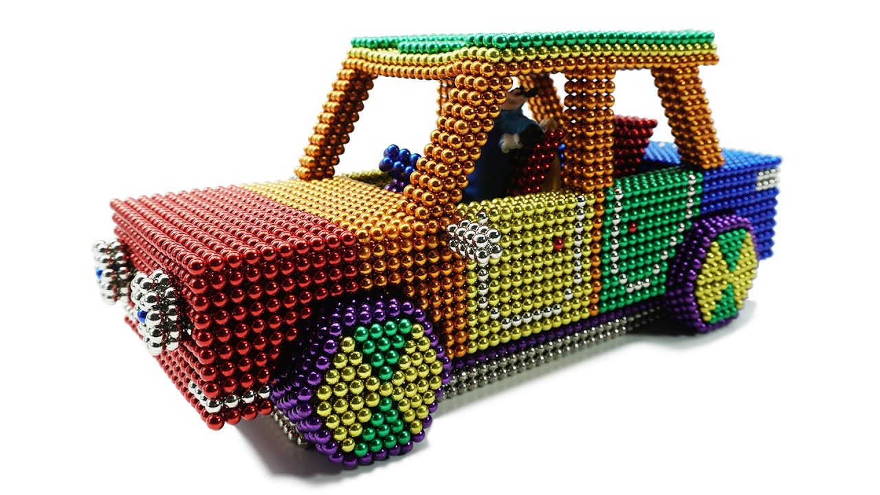 DIY - How To Make Colored Car From Magnetic Balls ( Satisfying ) | Magnet Colorful