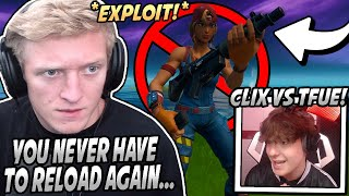 Tfue Shows *NEW* GLITCH That Makes You NEVER Have To RELOAD! Clix VS Tfue Gets TOXIC! - Fortnite