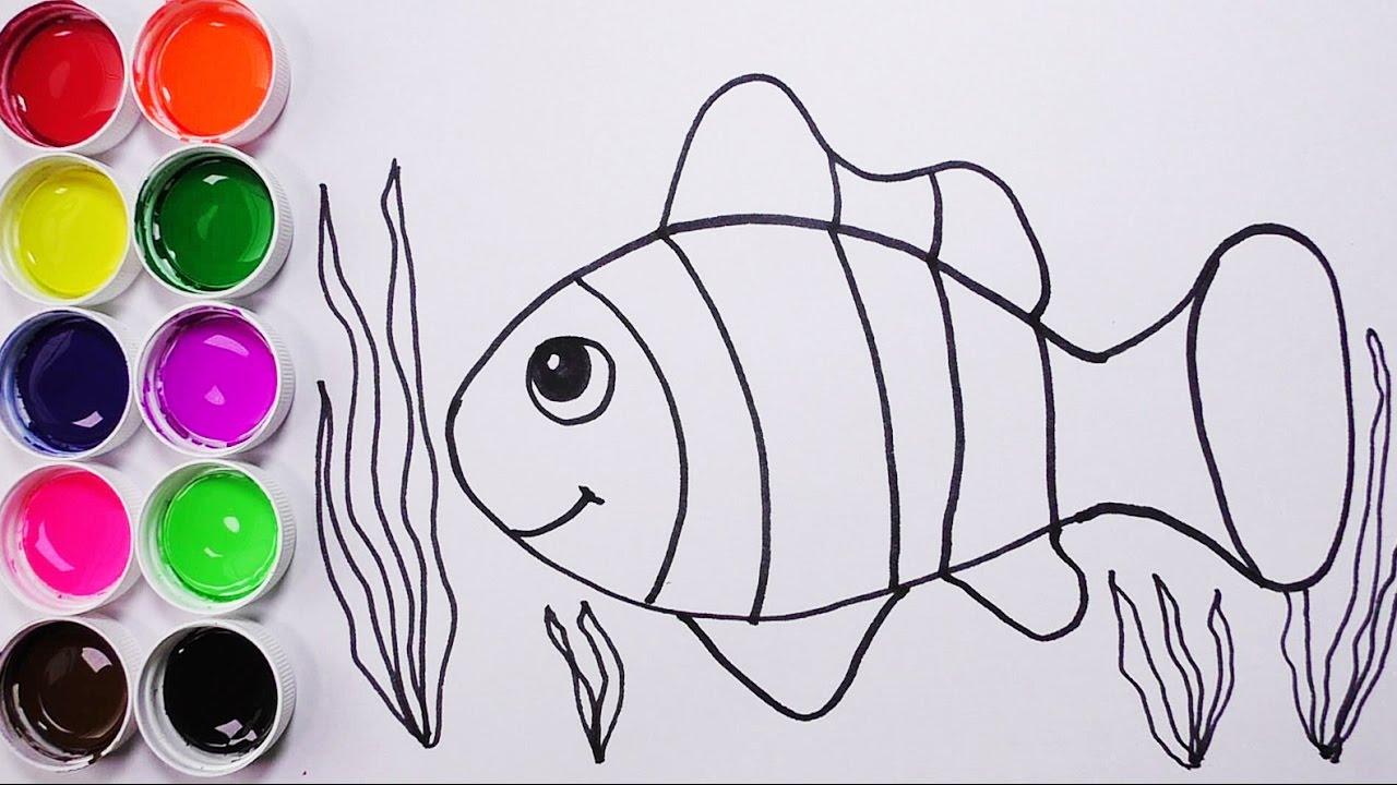 Como Dibujar y Colorear Un Pez de Colores  Dibujos Para Nios