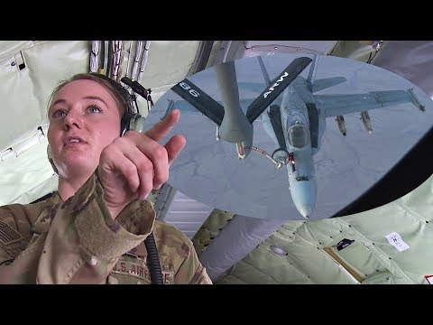 Tanker Aircraft Boom Operator Pumps Thousands Of Gallons Of Jet Fuel Into F-18 Fighters