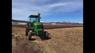 John Deere 4230 Plowing with DJI Drone Following