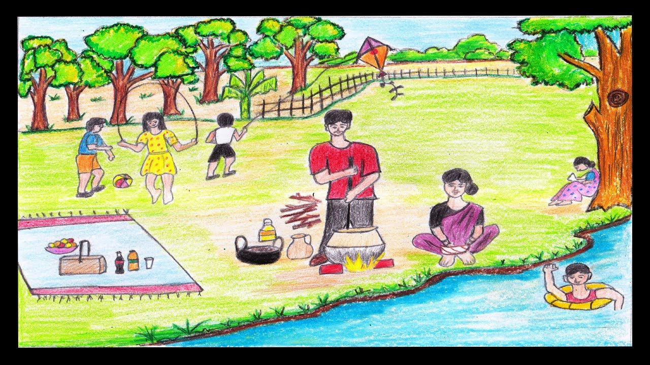 How To Draw A Picnic Scenery Step By Step Easily Youtube