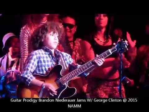 11 Yr. Old Guitar Prodigy Brandon Niederauer Jams W/ George Clinton @ NAMM 2015