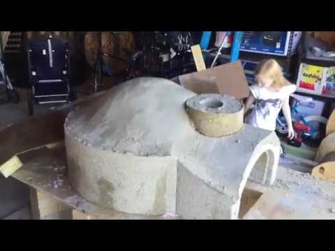 wood fired Pizza oven build cast from perlite concrete how to