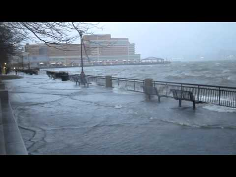 Hurricane Sandy at Jersey City Exchange Place Waterfront