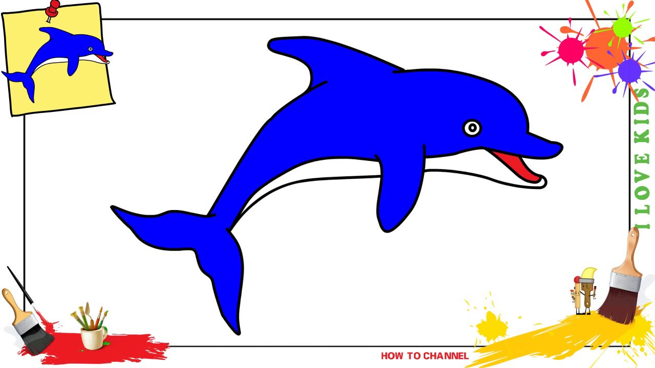 How To Draw A Dolphin Easy Slowly Step By Step For Kids And