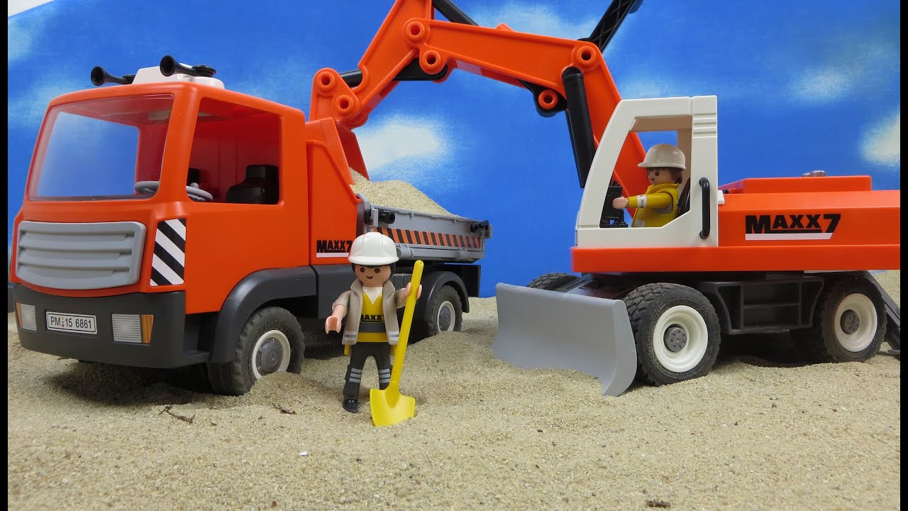 playmobil baustelle film deutsch bagger mit r umschild. Black Bedroom Furniture Sets. Home Design Ideas
