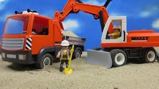 Playmobil Baustelle Film deutsch: Auf der Baustelle Bagger Räumschildund LKW Truck 6860 6861