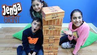 Kids Playing GIANT JENGA CHALLENGE! Family Fun Game for Kids HZHtube Kids Fun