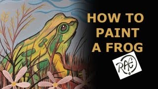 HOW TO PAINT A FROG using ACRYLIC PAINTS Landscape Garden Painting by RAEART