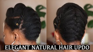 ELEGANT NATURAL HAIR UPDO|PROTECTIVE STYLE