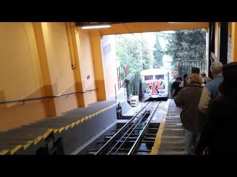 Mountain train to Tibidabo hill entering station