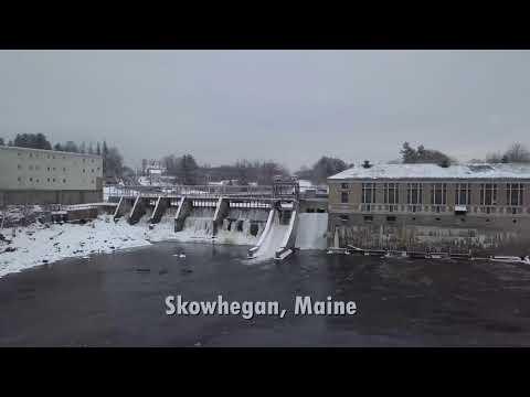 Skowhegan Maine drone view footage.