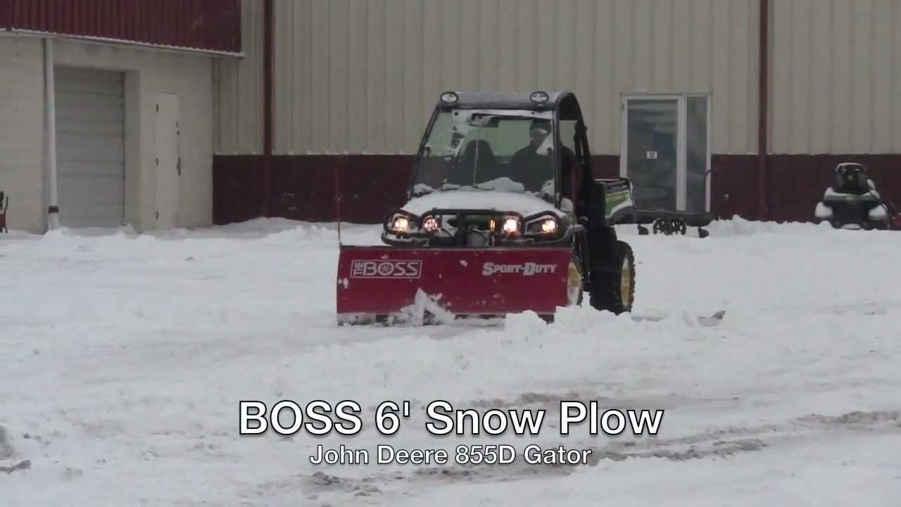 John Deere Gator >> BOSS 6' Snow Plow on a John Deere 855D Gator Utility Vehicle - YouTube