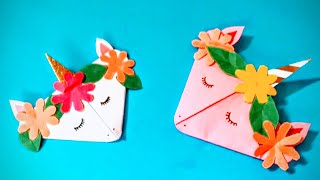 DIY origami school supplies paper bookmark unicorn - how to make bookmark with paper #papercraft
