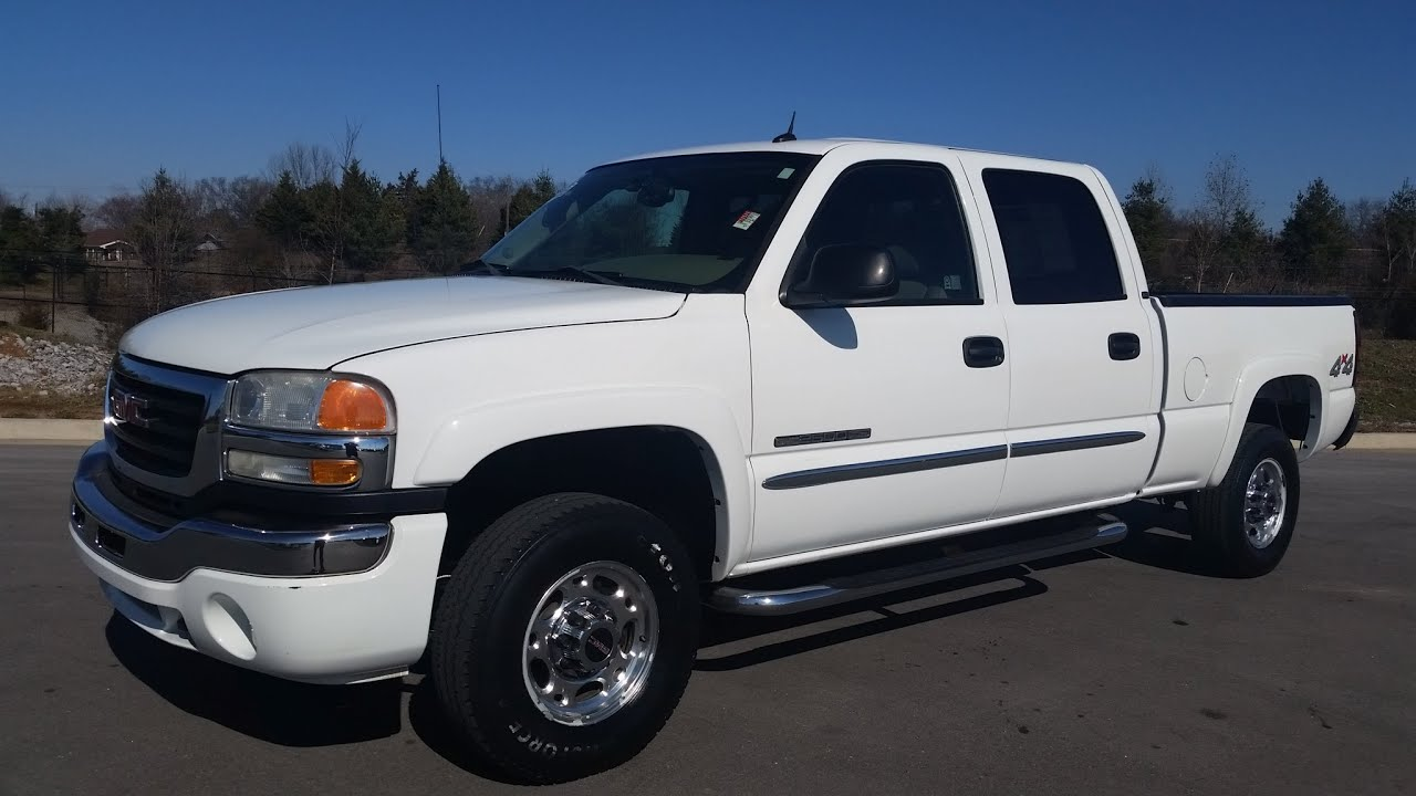 Sold 2005 gmc sierra 2500 hd 4x4 crew cab slt trim 6 0l v8 138k for sale call 855 507 8520 youtube