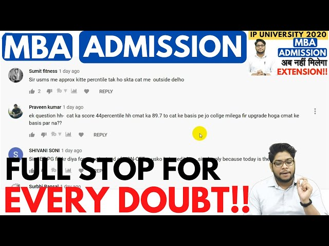 IP University MBA Admission Doubt Session Online Counselling Application form Complete Details