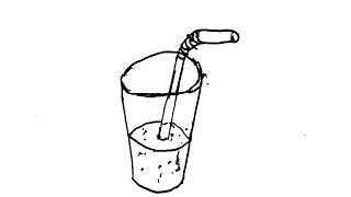 Draw a Cartoon Glass Cup with a straw