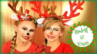Santa Claus' Reindeer Rudolph and Vixen Makeup and Costumes
