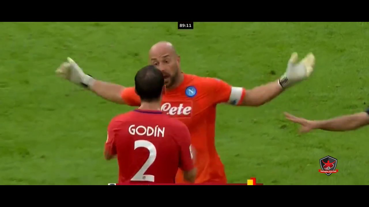 Diego Godin Red Card Atletico Madrid vs Napoli 2 1 Audi Cup HD