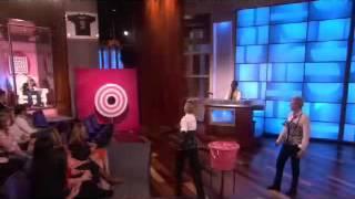 madonna sends her son rocco to the splash tank on ellen show