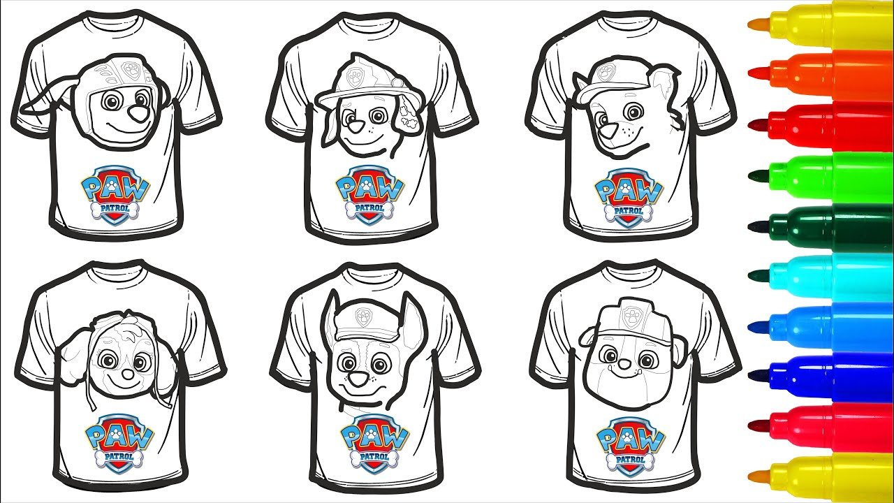 Paw Patrol Shirt Coloring Pages For Kids Paw Patrol Coloring Pages Youtube