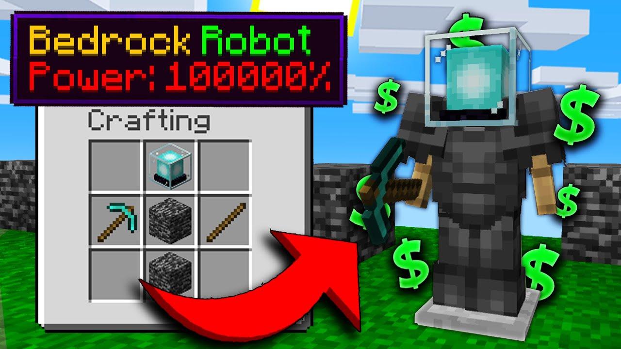BEDROCK ROBOTS ARE INSANELY OP! | Minecraft Skyblock