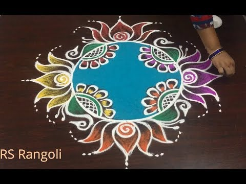 HAPPY NEW YEAR Rangoli design without dots Beautiful Lotus New