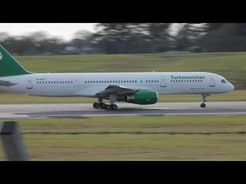 Turkmenistan Airlines B757 take off from Birmingham