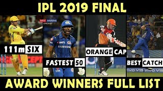 IPL 2019 Final Winners Orange Cap, Purple Cap, Best Catch, Fairplay , MVP: Complete list of awards