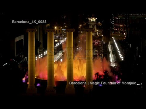 UHD Ultra HD 4K Video Stock Footage Barcelona Spain Magic Fountain Illuminated Night Light Show City