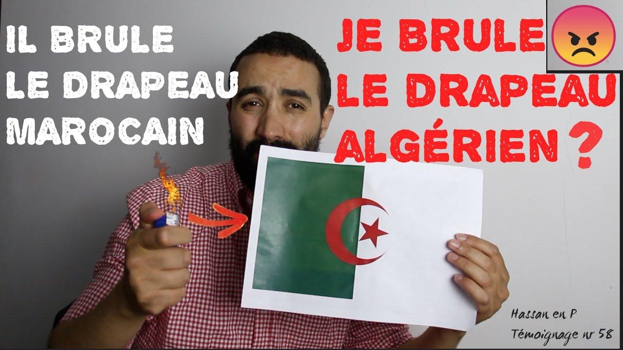Algerien brule le drapeau du maroc je brule le drapeau d - Drapeau du maroc a imprimer ...