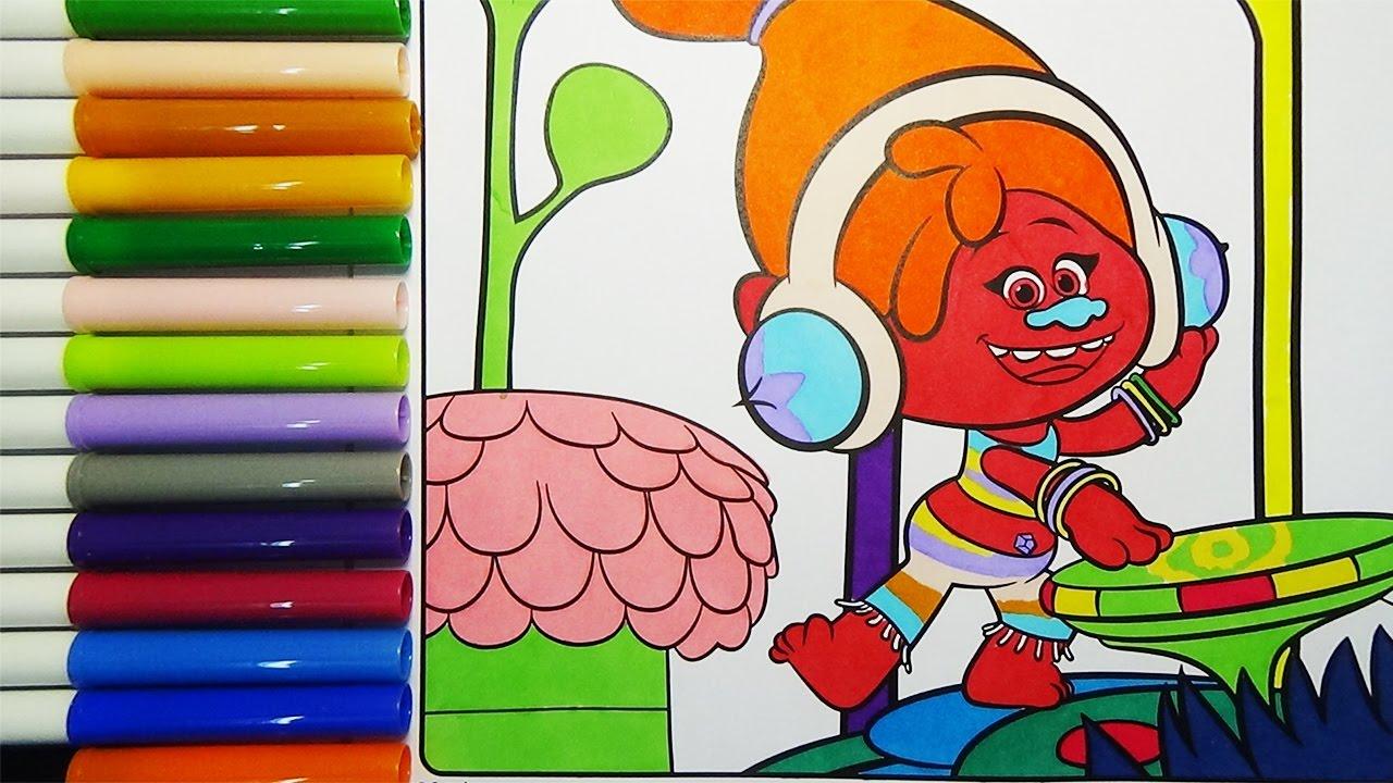 DJ Suki Trolls Movie Coloring Crayola Book Pages DJ Suki Colouring Creative  For Kids