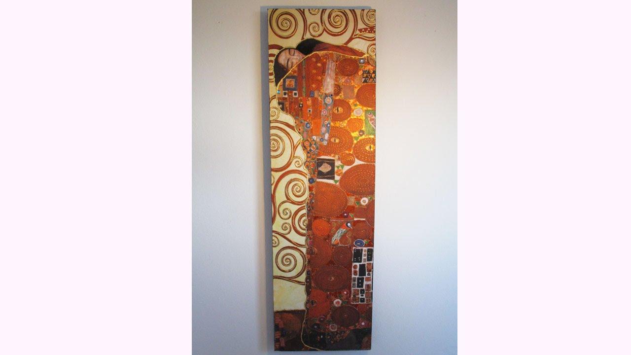 THE KISS , GUSTAV KLIMT Decoupage on canvas DIY