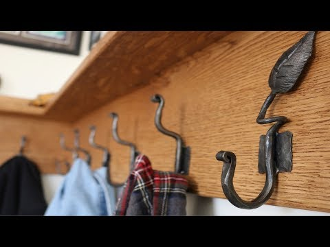 Forged leaves and hooks coat rack, companion to my dovetail bench!  FarmCraft101 DIY