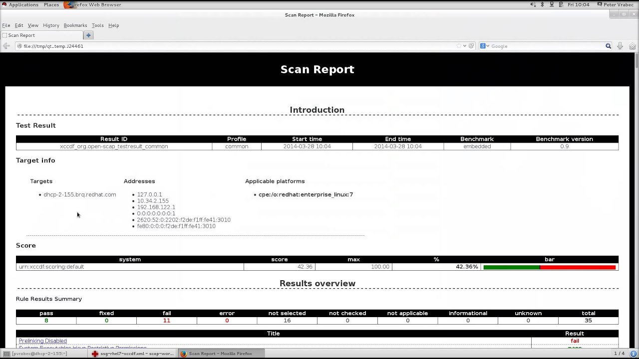 Security Compliance by OpenSCAP - Using workbench (Technical preview)