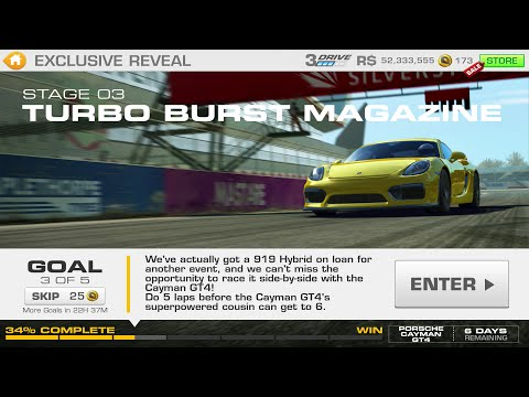 Real Racing 3:- Exclusive Reveal Stage 03 Goal 3 TURBO BURST MAGAZINE Porsche Cayman GT4