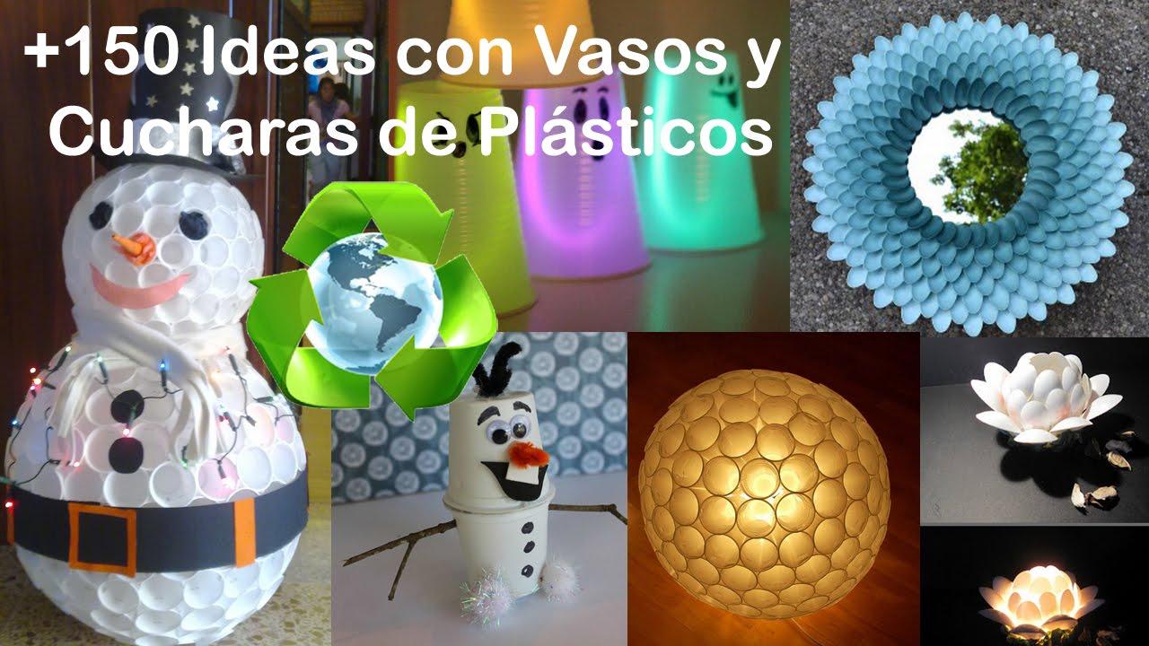 Ideas con vasos y cucharas de pl stico recycling glasses - Manualidades con vasos de plastico ...