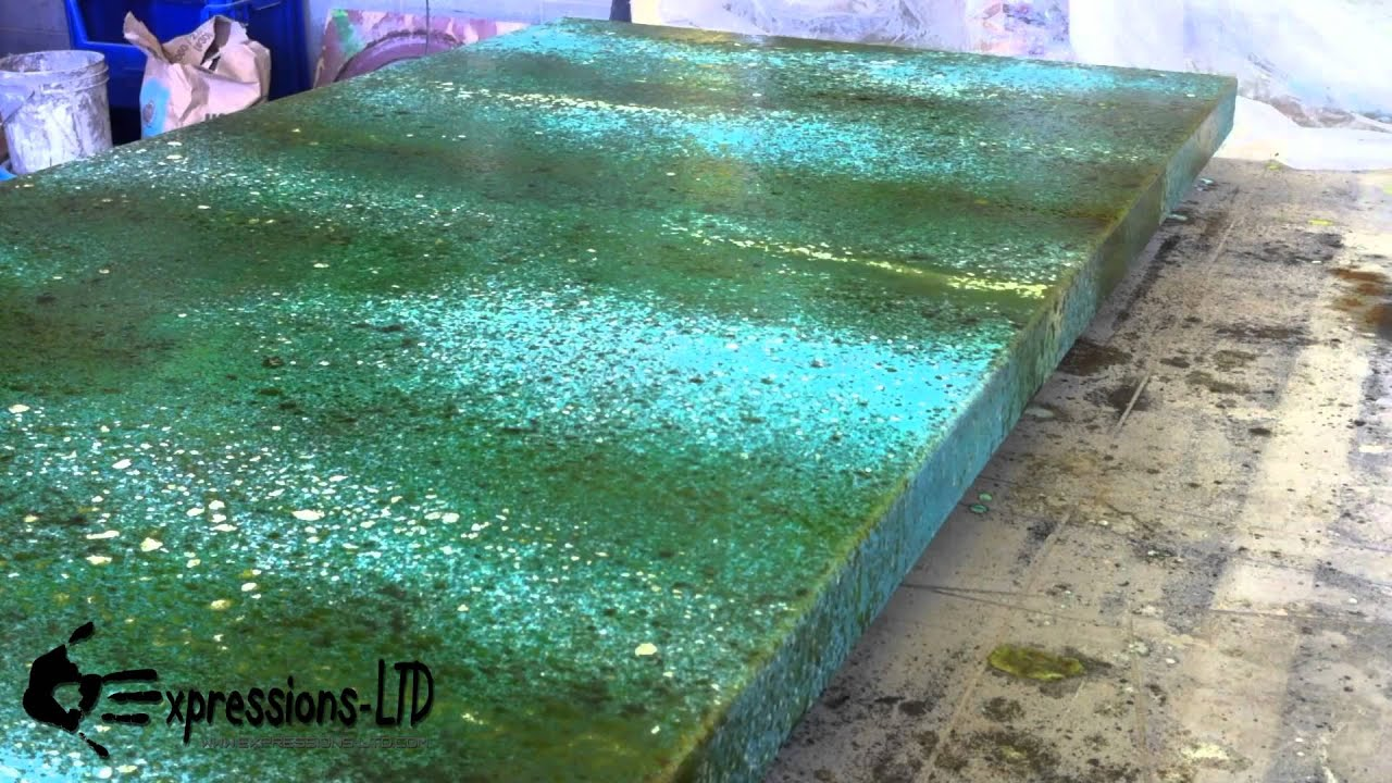 Acid Stain Concrete Countertop Turquoise And Rust YouTube - Stained concrete table