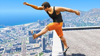 GTA 5: Jumping oḟf Highest Buildings - Funny Moments #2