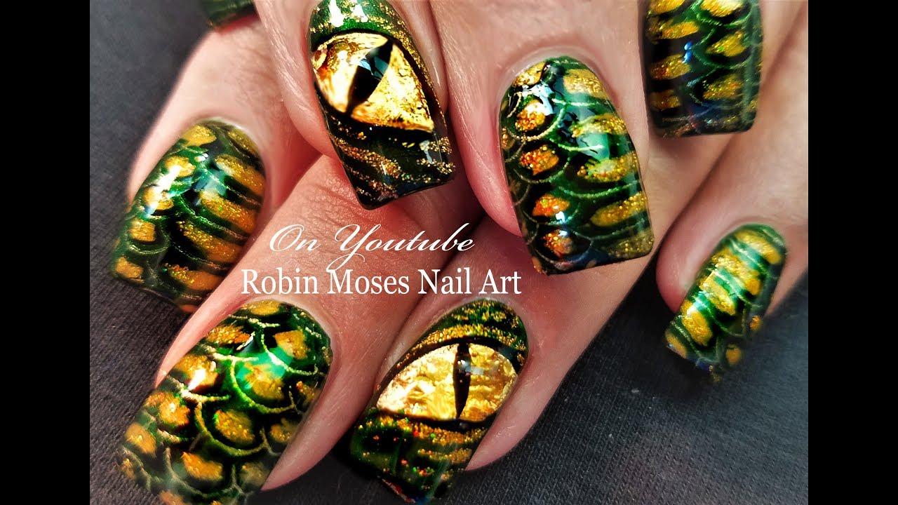 Reptilian Alien Nail Art | DIY Halloween Lizard People ...