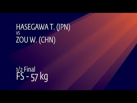 1/2 FS - 57 kg: T. HASEGAWA (JPN) v. W. ZOU (CHN)