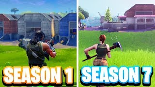 REALLY RARE Fortnite Season 1 GAMEPLAY! Season 1 vs Season 7 Gameplay