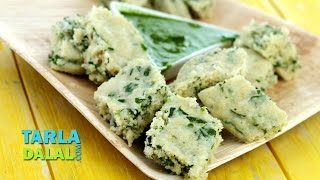 Oats Rava Palak Dhokla (Zero Oil Recipe) by Tarla Dalal